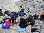 Research in the austere surroundings of the high camp at 5200m