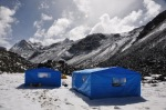 Base camp mess tents in fresh snow 9 Jun 2012