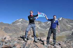 RAF Ensign held aloft on the summit of Mirador