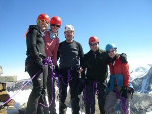 An elated team on the summit of Pata Patani at 5500m