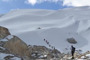 Team 2 members heading onto the glacier